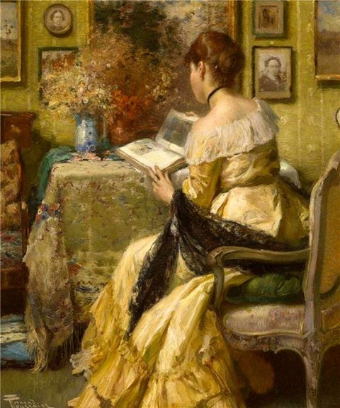 Image result for Victorian lady  reading